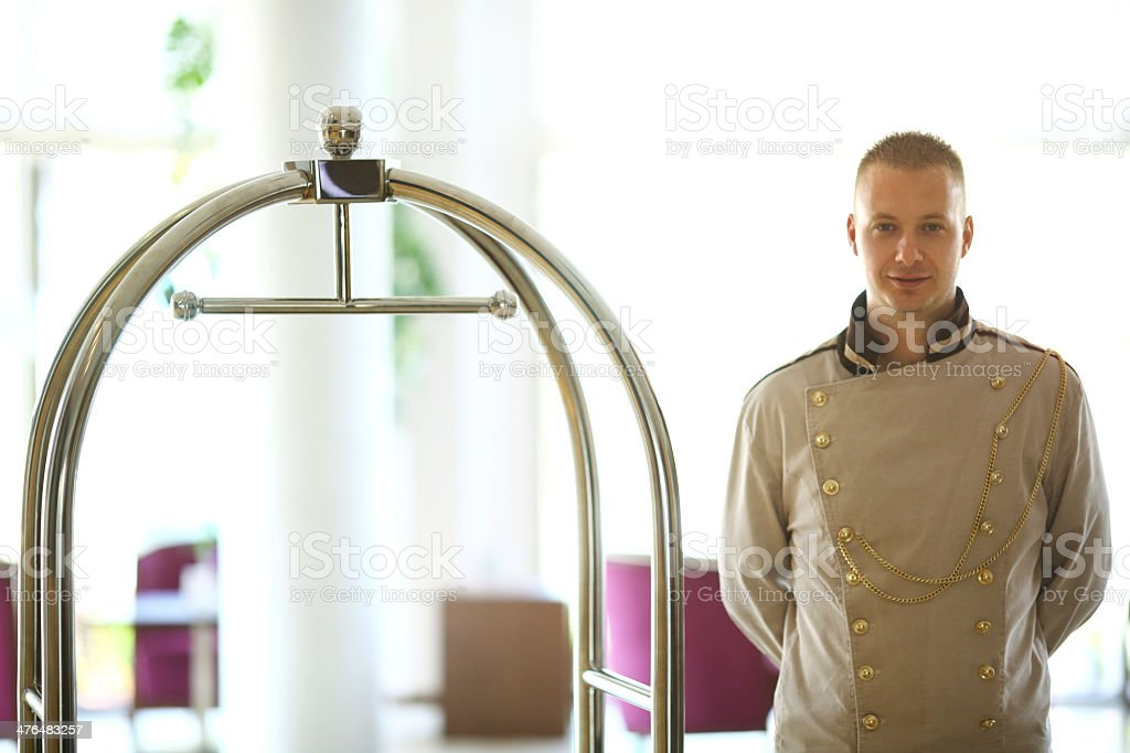 Bellboy at work royalty-free stock photo