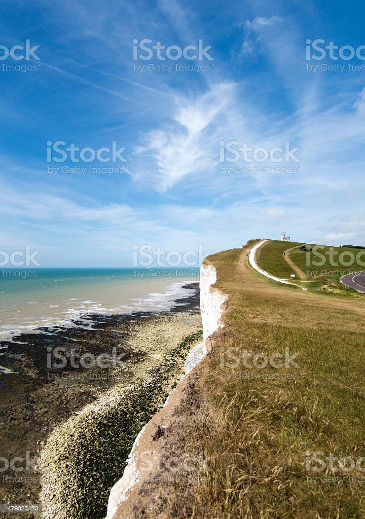 Belle Tout Lighthouse and Coast stock photo