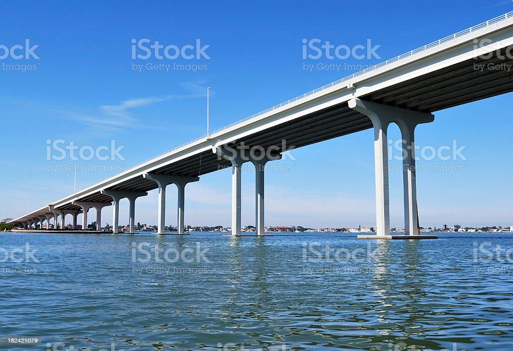 Belleair Beach Causeway Concrete Overpass Elevated Bridge in Clearwater Florida royalty-free stock photo