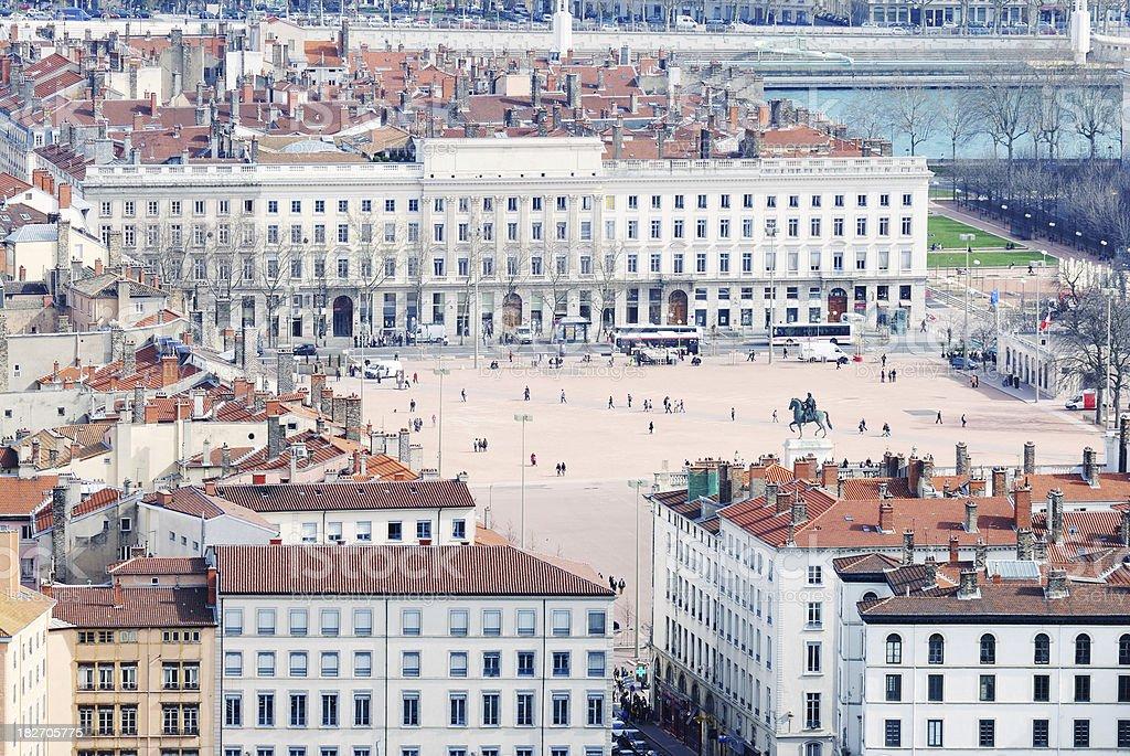Bellecour Square in Lyon, France stock photo