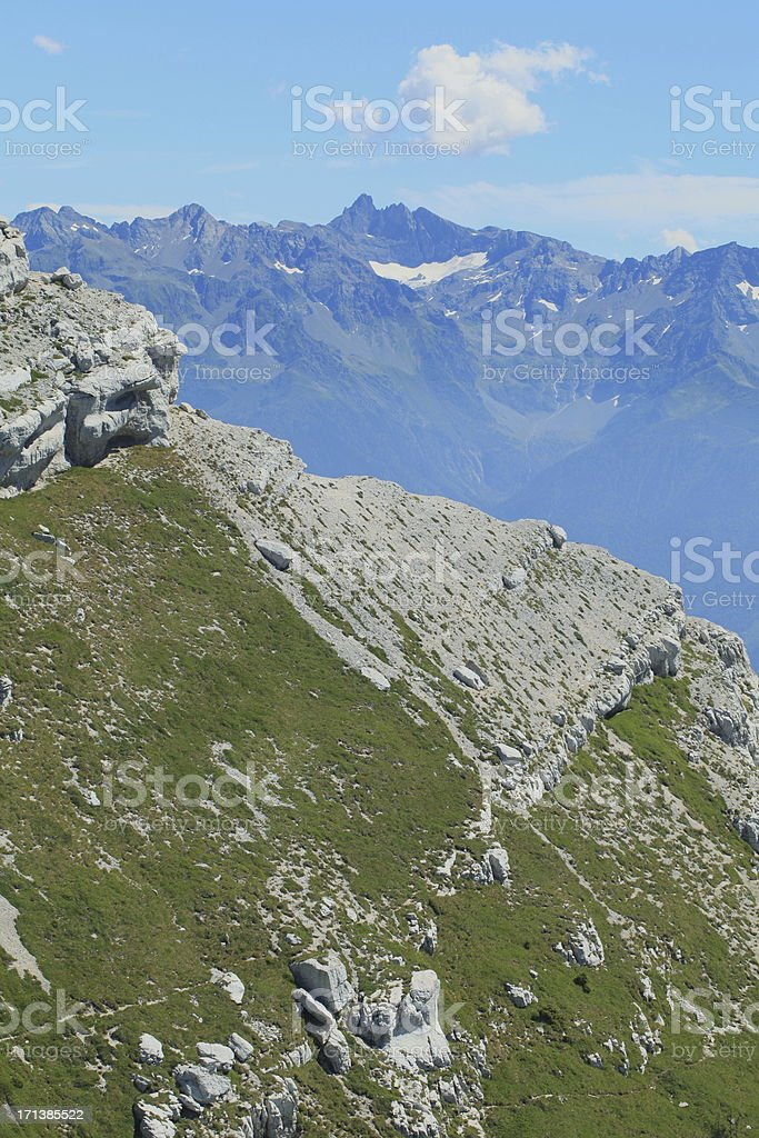 Belledonne mountains from Dent du Crolles stock photo