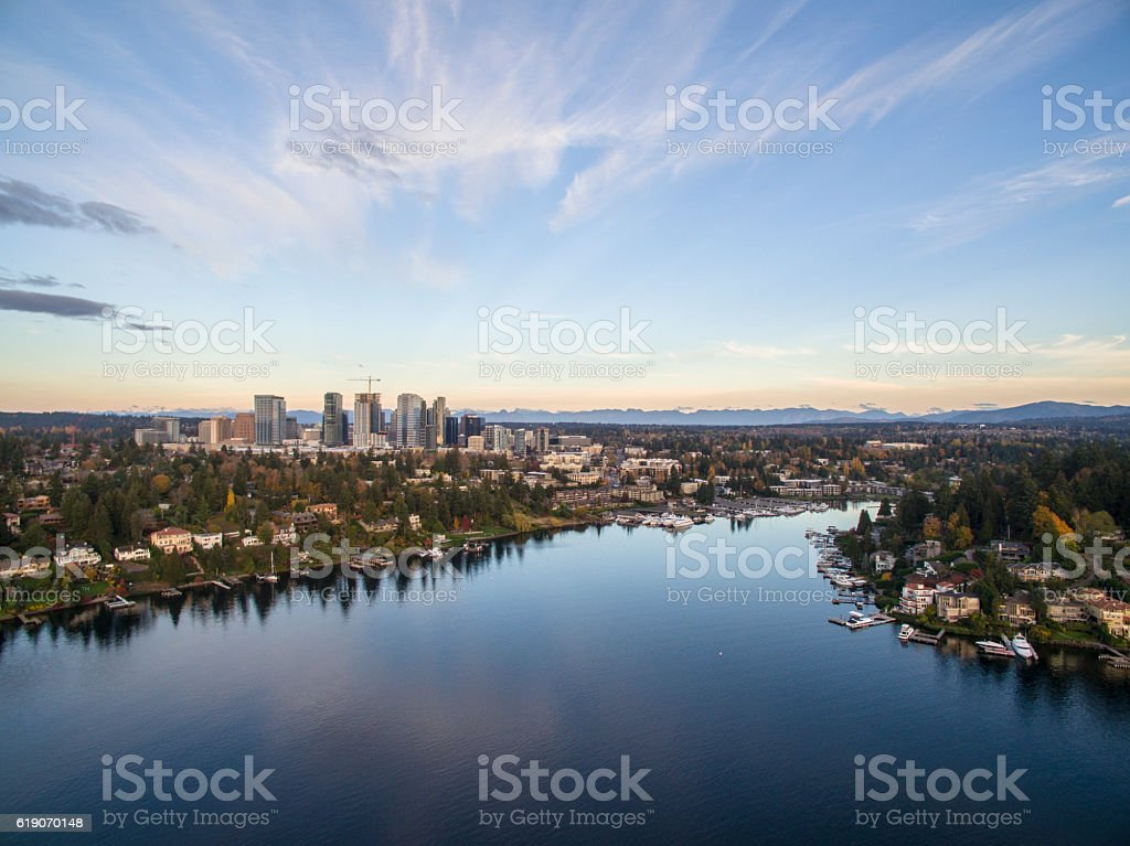Bellevue Washington Cityscape and Meydenbauer Bay Aerial View stock photo