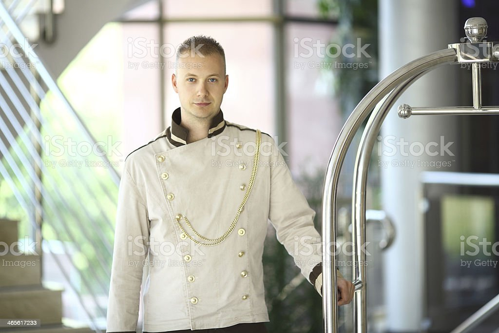 Bellhop at work stock photo
