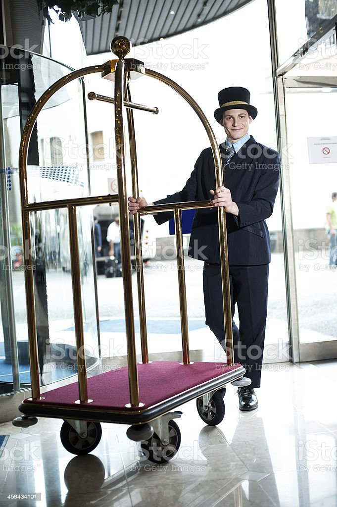 Bellhop at your service stock photo