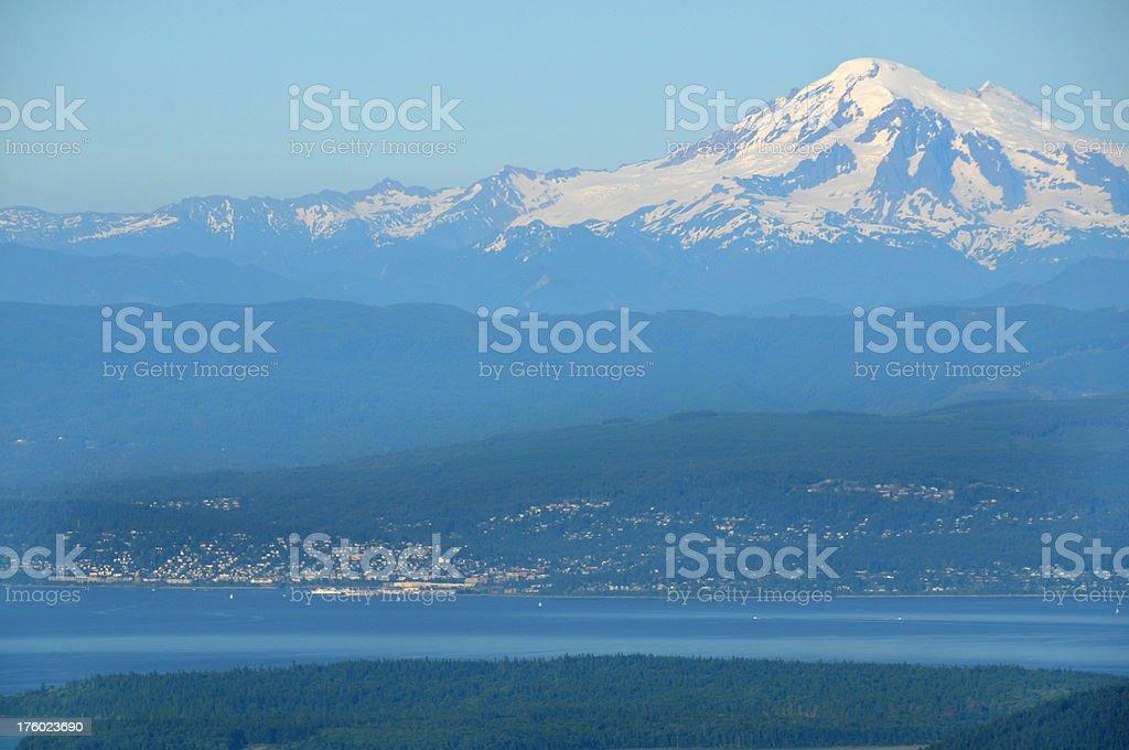 Bellingham Washington and Mt. Baker stock photo