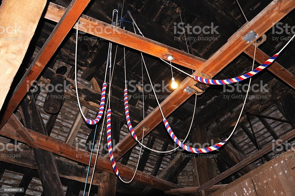 Bellringing ropes, Pembridge. stock photo