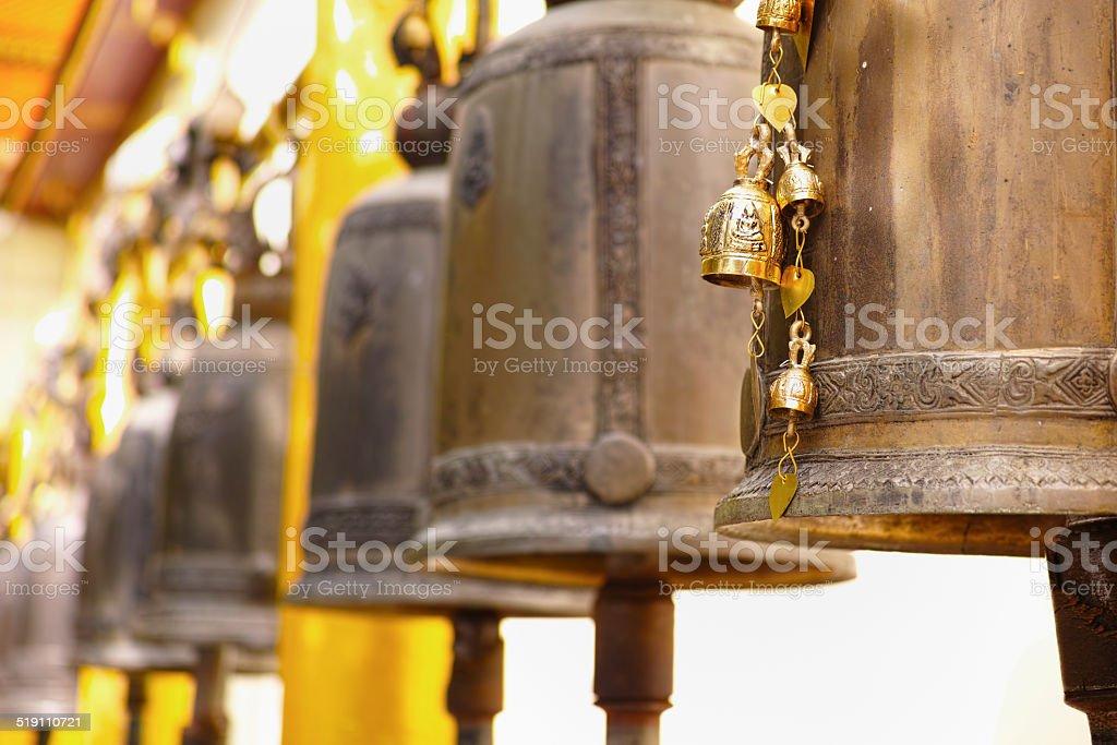Bells at Wat Doi Suthep, Chiang Mai. stock photo
