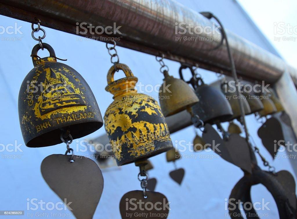Bells at Wat Saket - Golden Mount stock photo