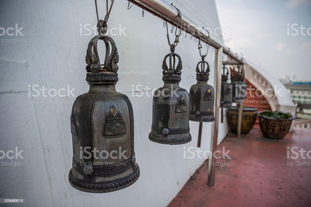 Bells at Wat Saket temple, Bangkok, Thailand stock photo