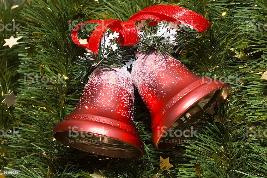 Bells Christmas on a tree royalty-free stock photo