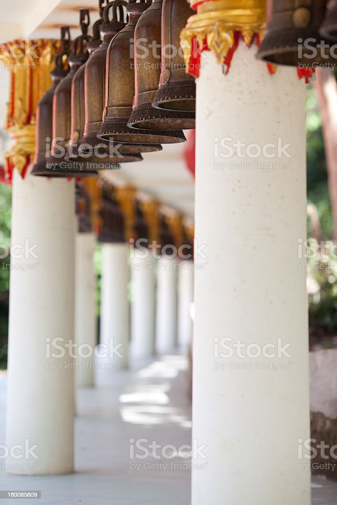 Bells in an ancient Buddhist temple royalty-free stock photo