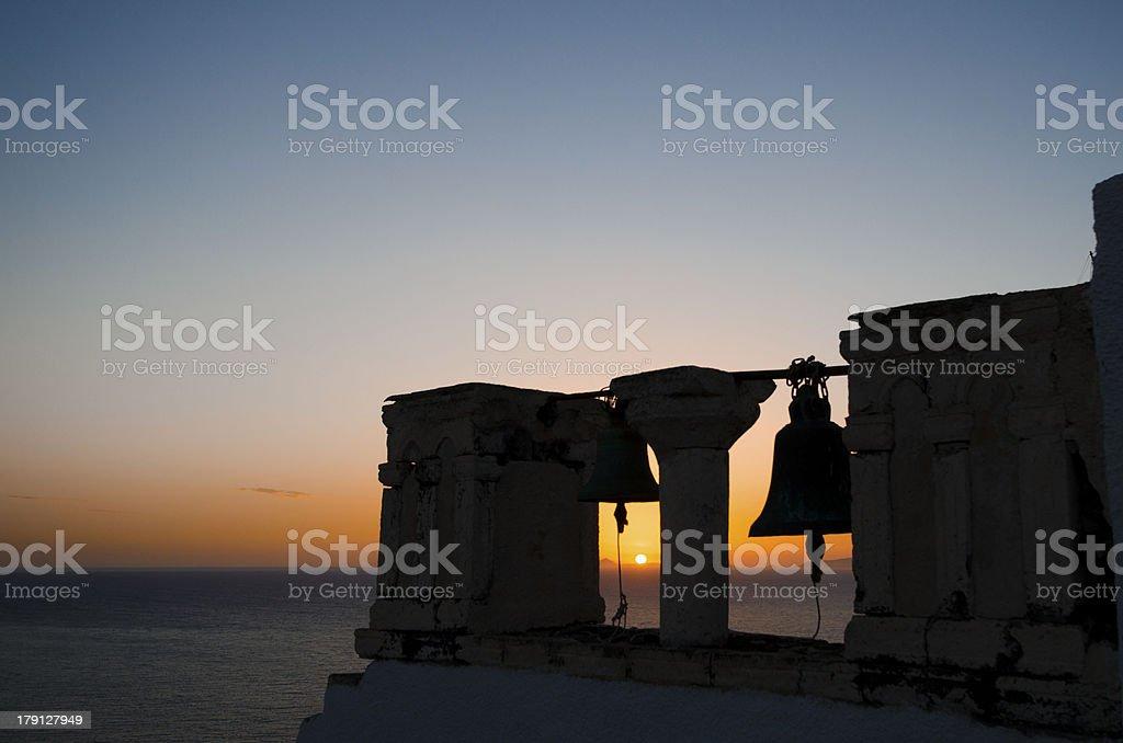 Bells in Santorini at sunset royalty-free stock photo