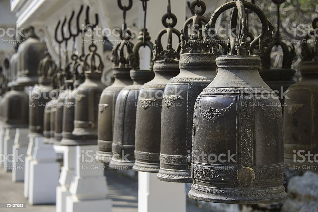Bells in Thailand's Temple stock photo