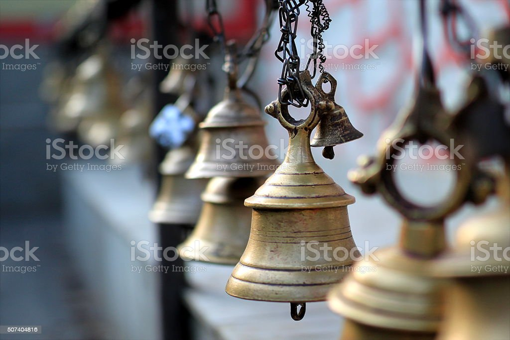 Bells of Taal Barahi Mandir, Lakeside Pokhara, Nepal stock photo