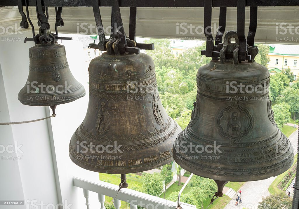 Bells on the belfry of The Trinity Lavra stock photo