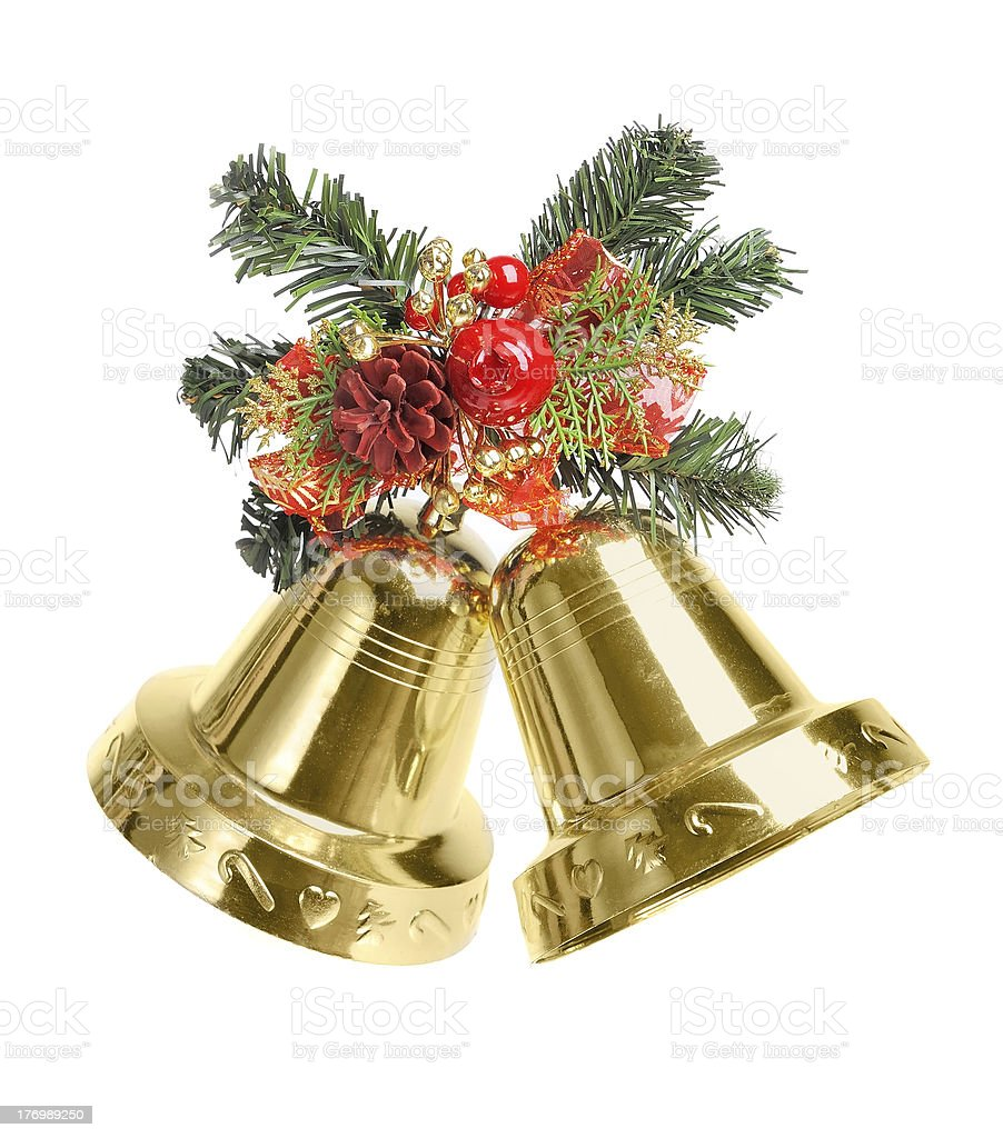Bells with Christmas decoration isolated on white background stock photo