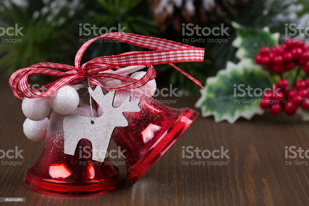 Bells with Christmas decoration stock photo