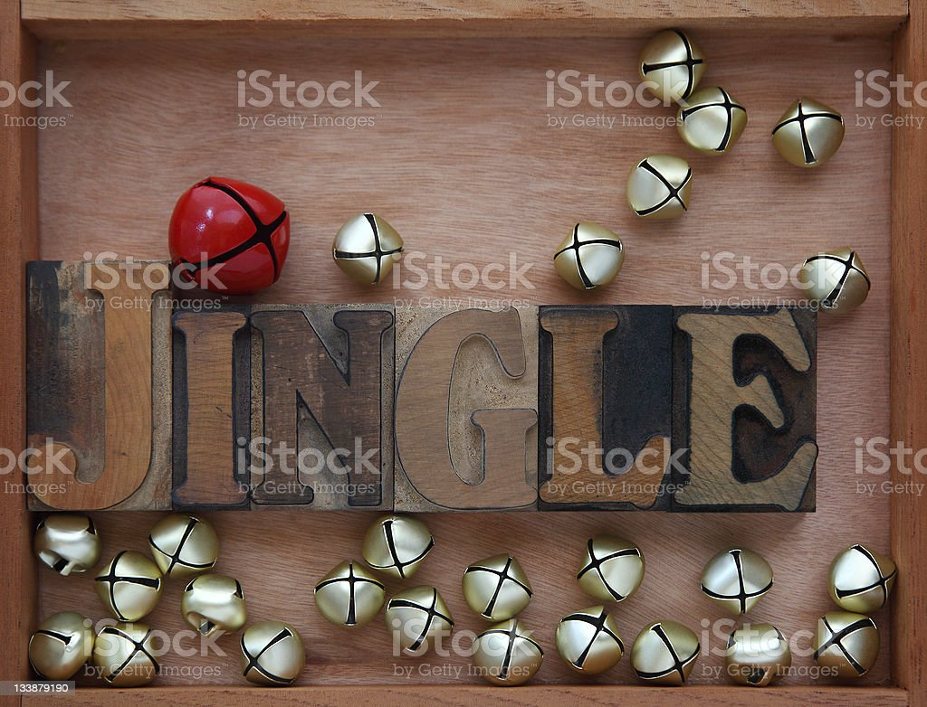 bells with the word jingle stock photo