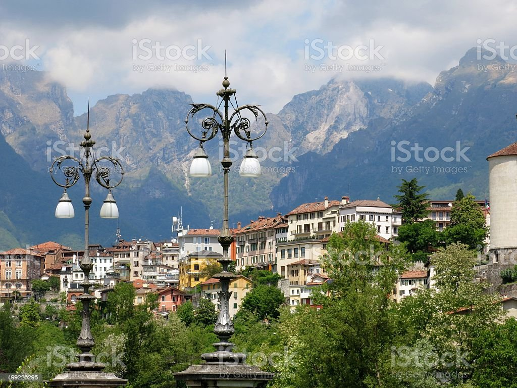 Belluno Montains Lamps Italy stock photo