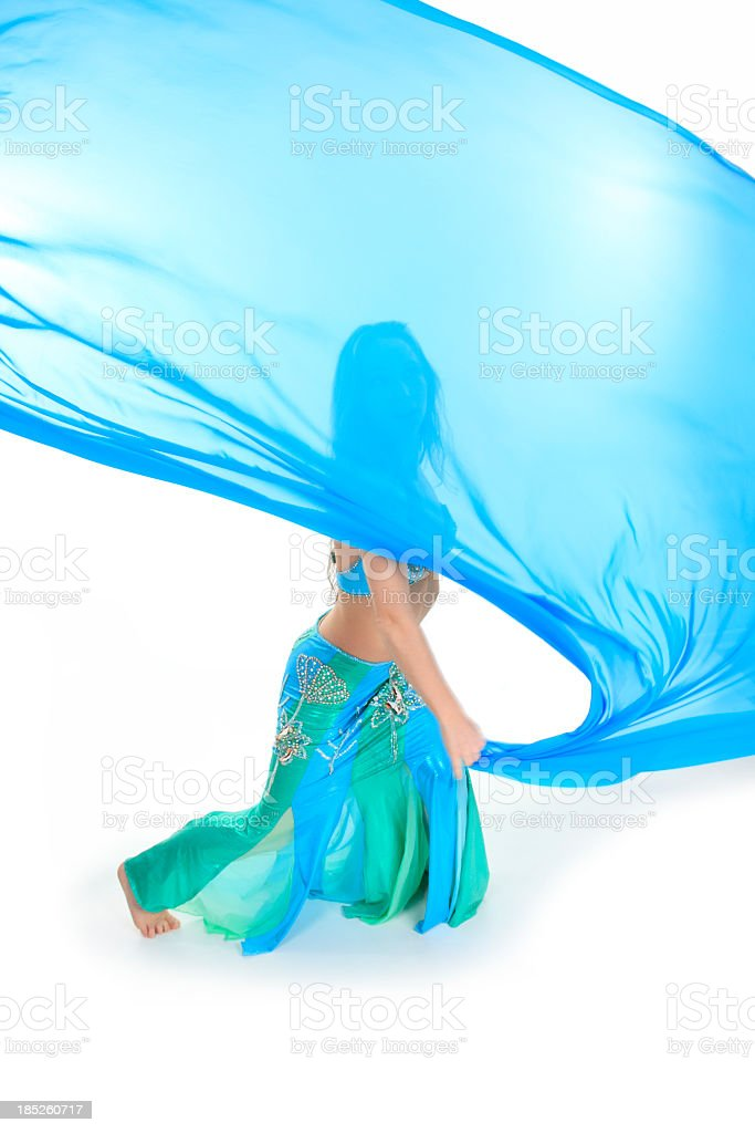 Belly Dancer - Blue Silk Cover Face stock photo