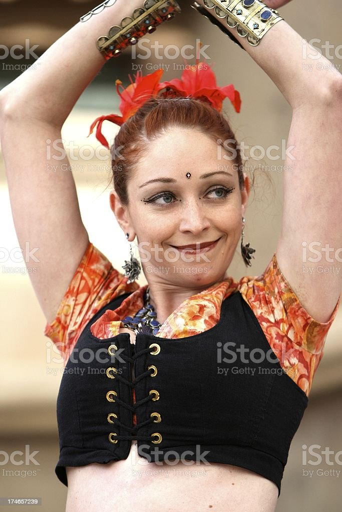 Belly Dancer grinning stock photo