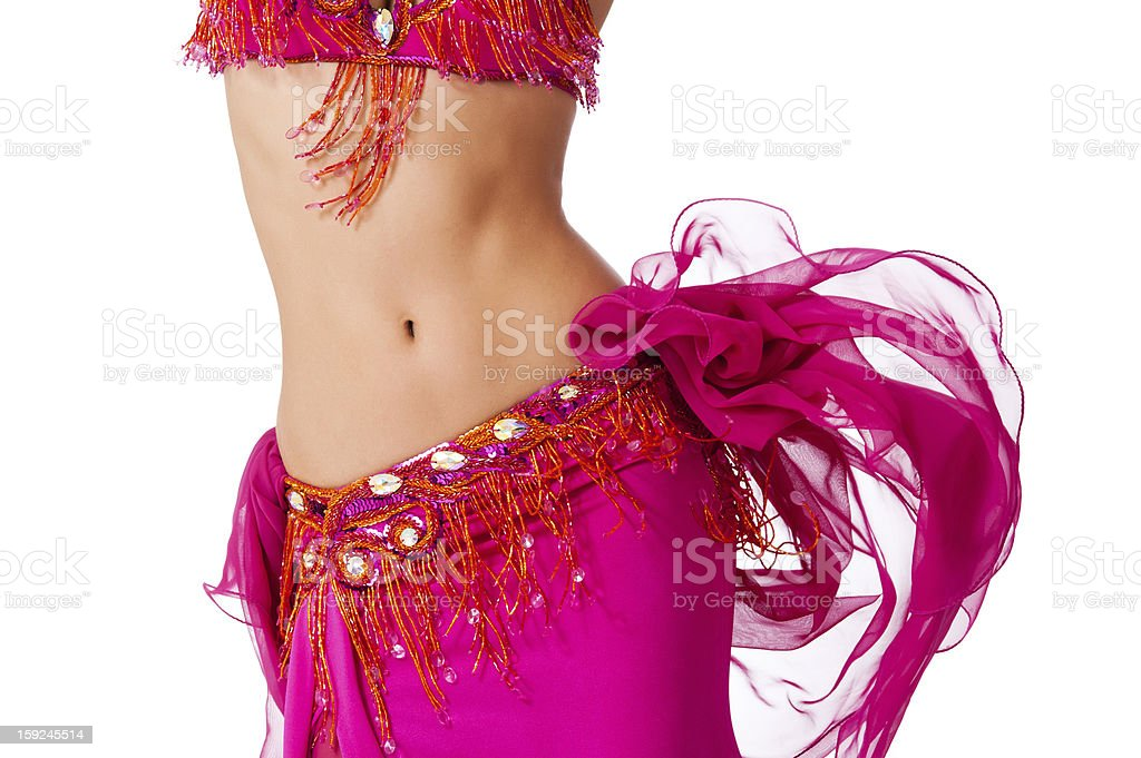 Belly Dancer in a Hot Pink Costume Shaking her Hips stock photo