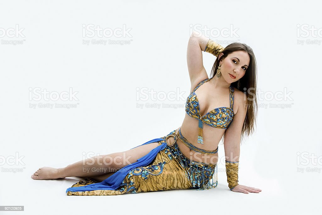 Belly dancer in blue stock photo