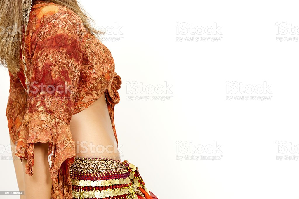 Belly Dancer sideview with copyspace stock photo