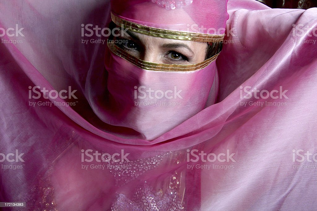 belly dancer wih veil royalty-free stock photo