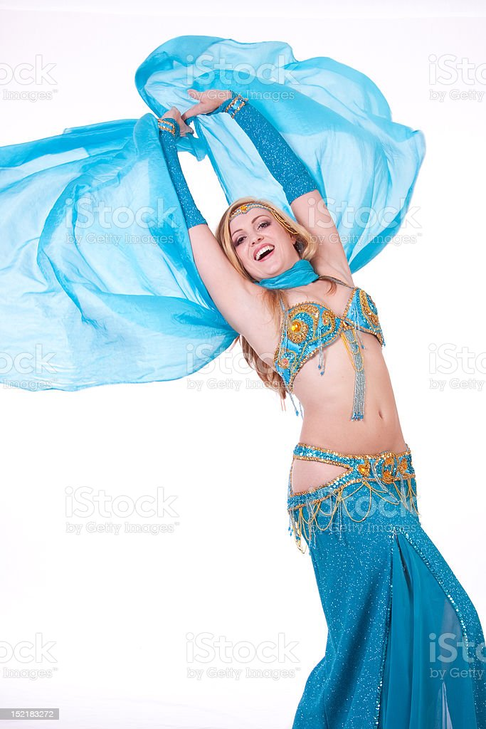 Belly dancer with blue veil royalty-free stock photo