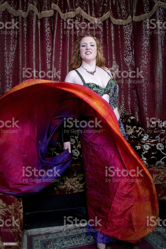belly dancer with flowing scarf royalty-free stock photo