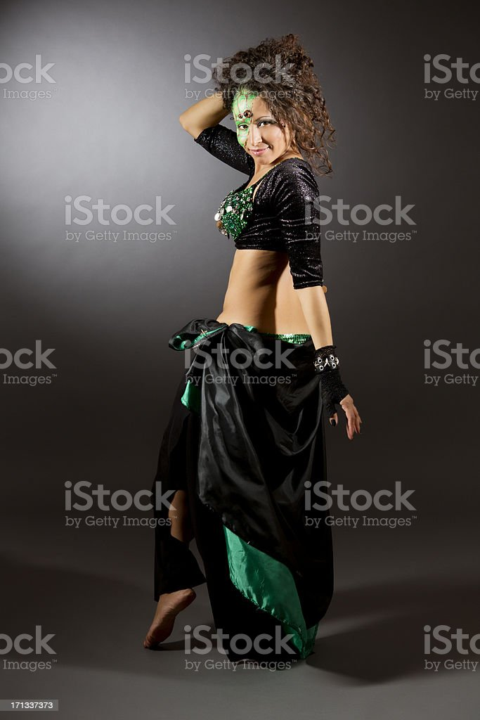 Belly dancer with stage makeup royalty-free stock photo