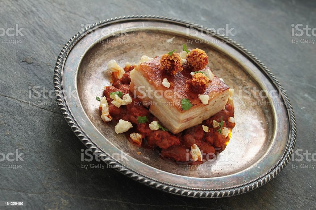 belly pork plated meal stock photo