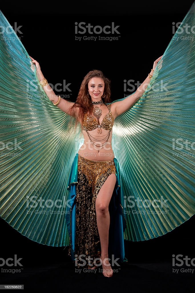 Bellydance queen with Isis wings stock photo