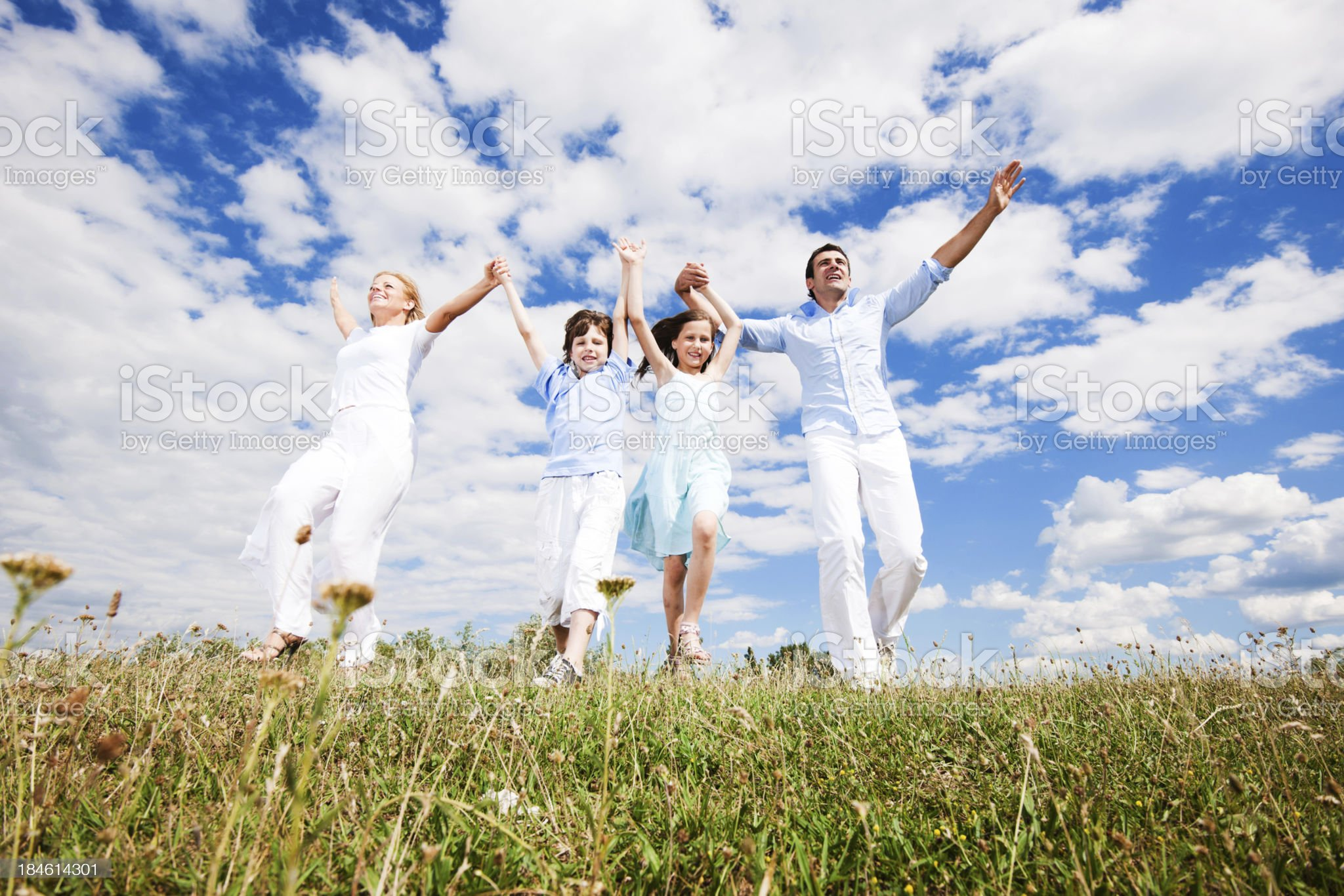 Belo view of a happy family running in field royalty-free stock photo