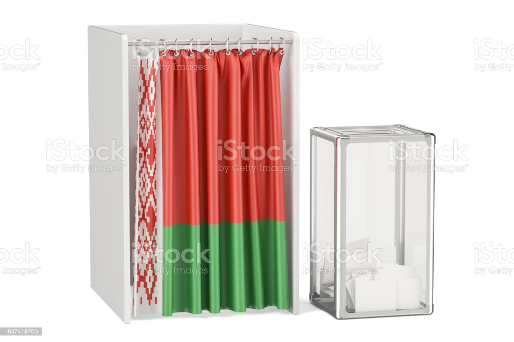 Belorussian election concept, ballot box and voting booths with flag of Belarus, 3D rendering isolated on white background stock photo