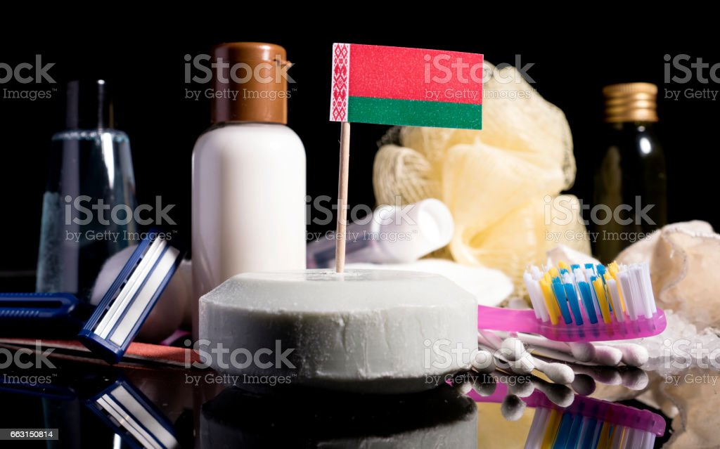 Belorussian flag in the soap with all the products for the people hygiene stock photo