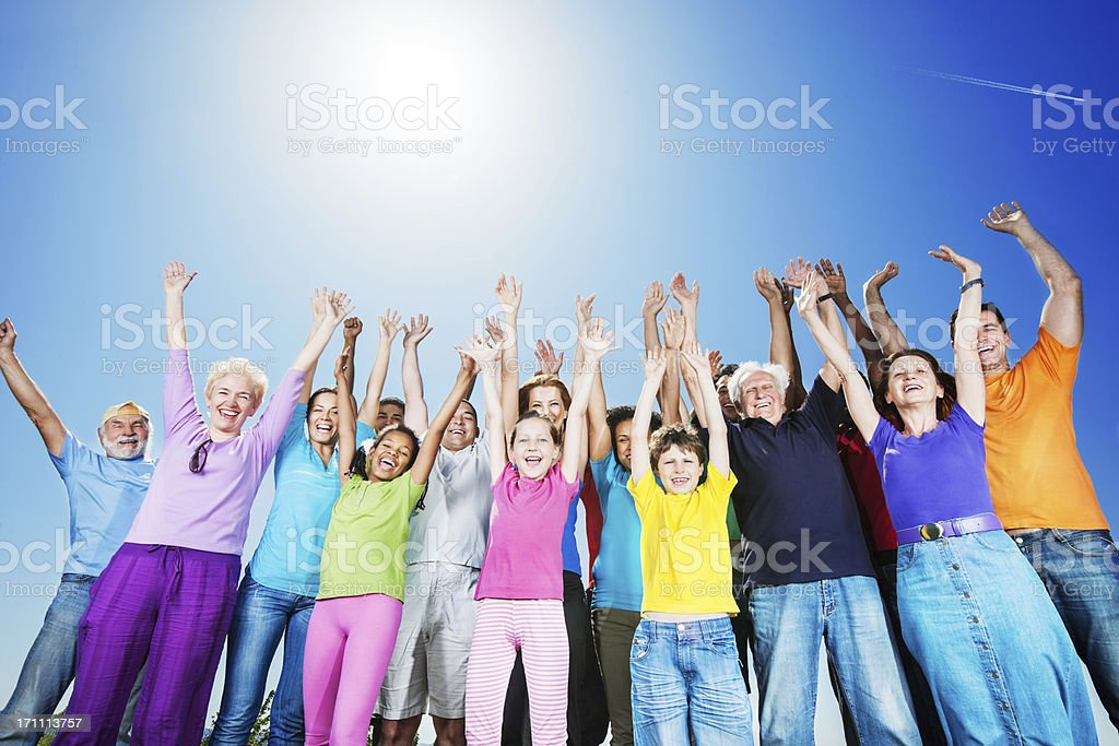 Below view. Large group of people against sky. royalty-free stock photo