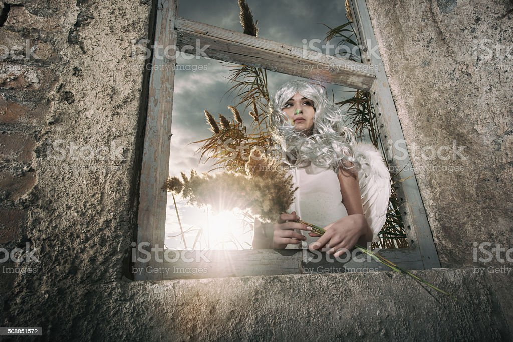 Below view of an angel with reed on window frame. stock photo