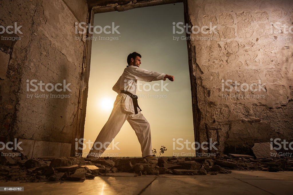 Below view of black belt martial artist exercising at sunset. stock photo