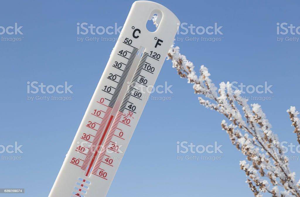 Below Zero degree Celsius temperature with frozen plant in background stock photo
