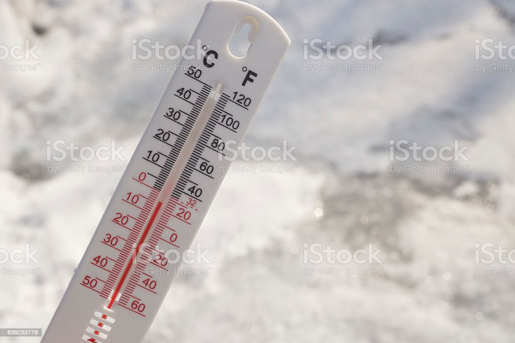 Below Zero degree Celsius temperature with snowy background stock photo