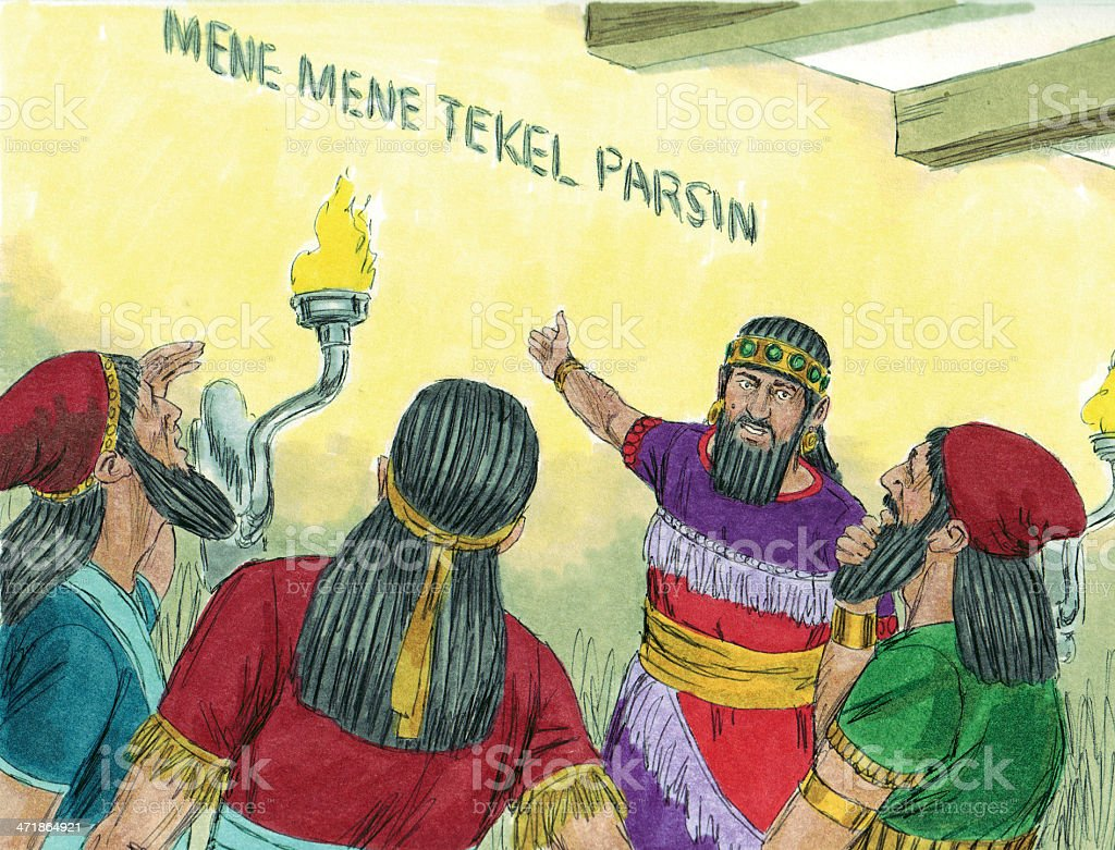 Belshazzar and Wise Men Read Wall royalty-free stock photo