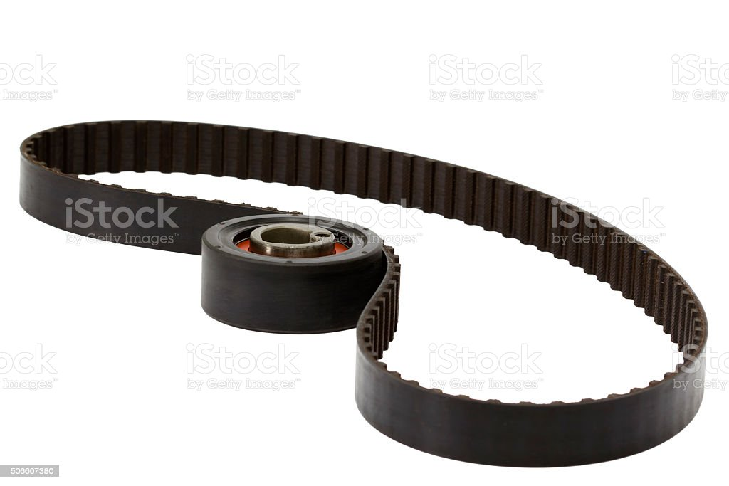 Belt and tensioner roller, isolated on white background stock photo