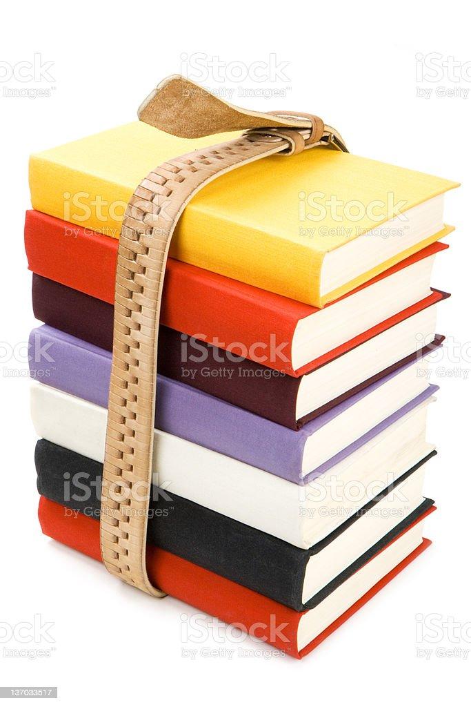 Belt bundled batch of color books with hard covers stock photo
