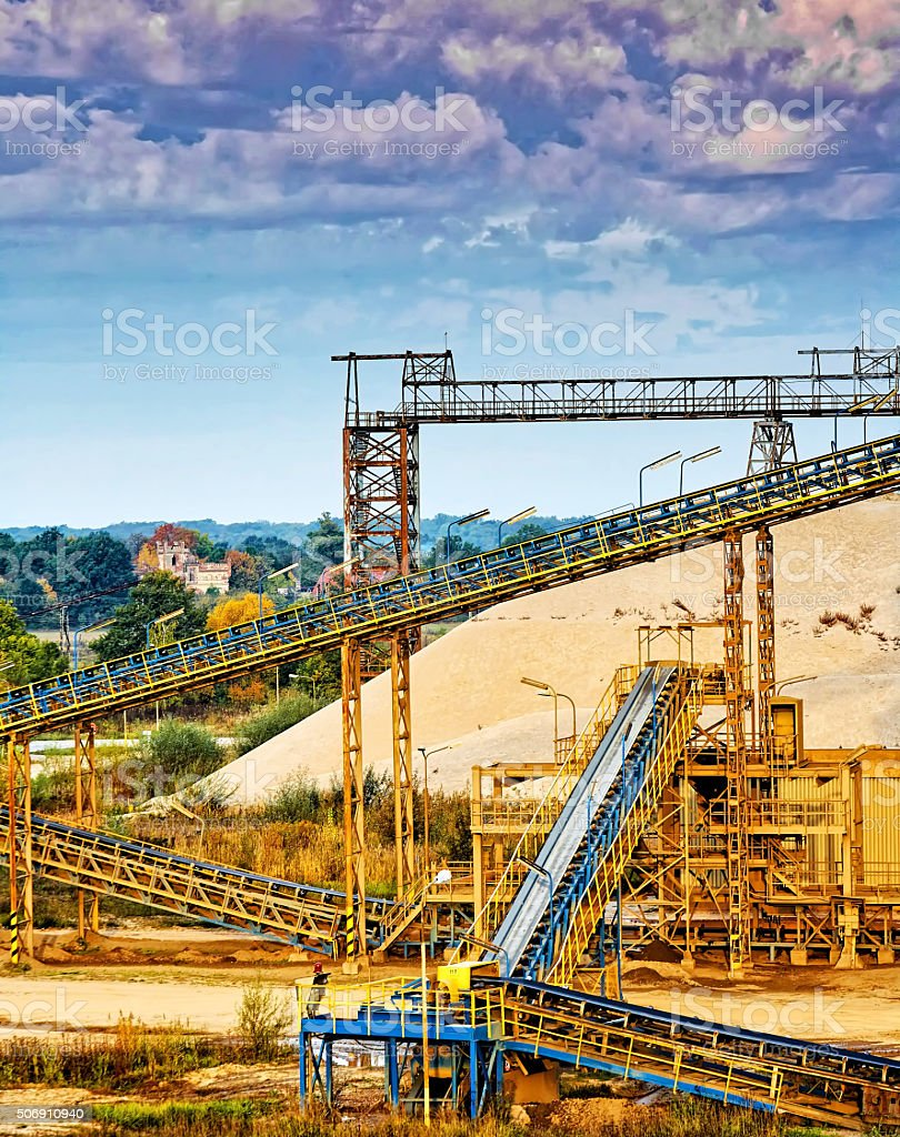 Belt conveyors at the factory stock photo