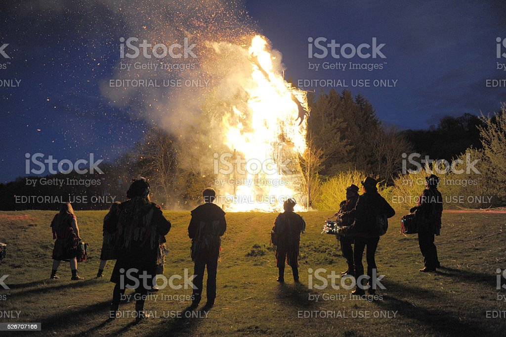 Beltain wickerman burning stock photo