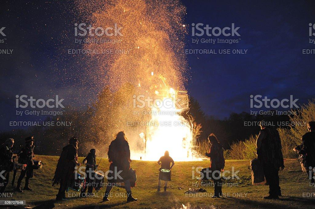 Beltain wickerman burning stock photo