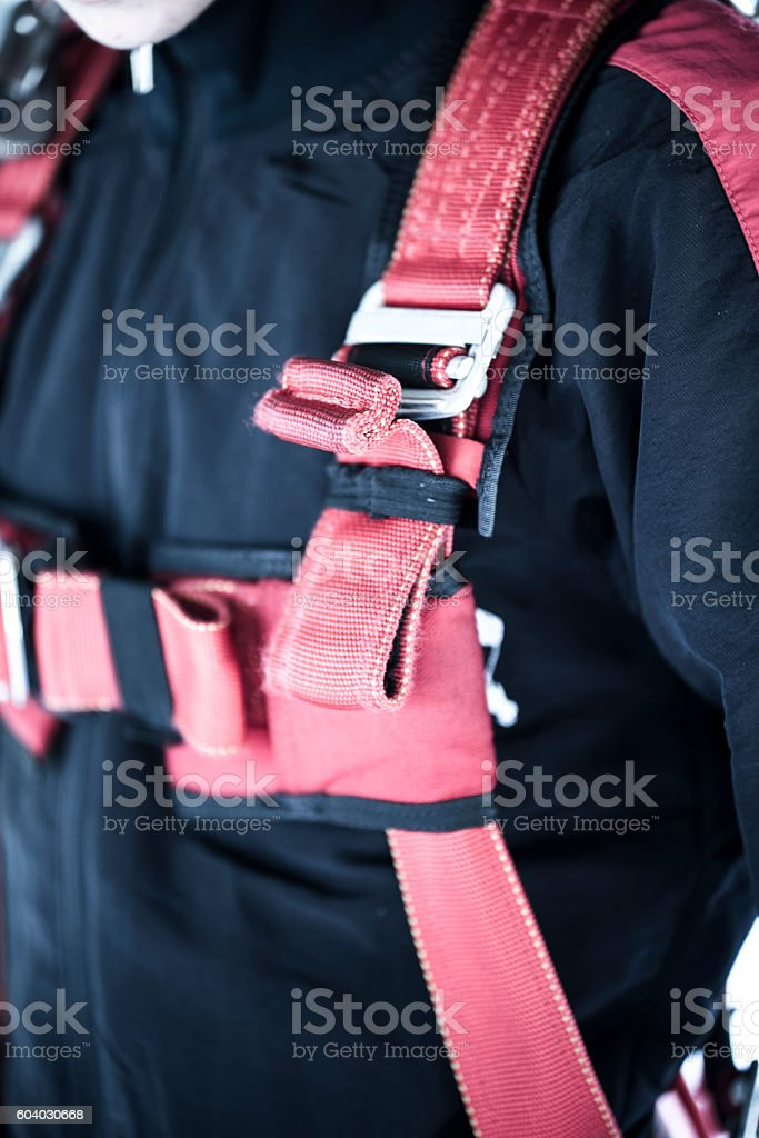 Belts on a parachuter's suit stock photo