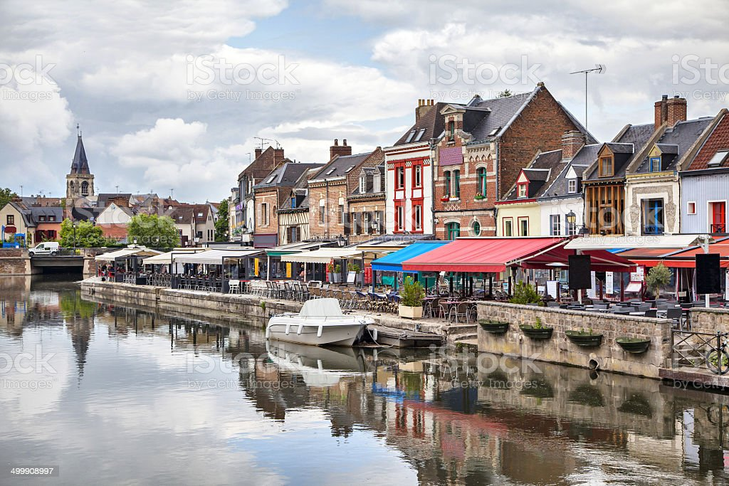 Belu embankment in Amiens, France stock photo